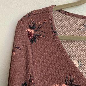 torrid Tops - Torrid Mauve Purple Floral Long Sleeve V-Neck Tee